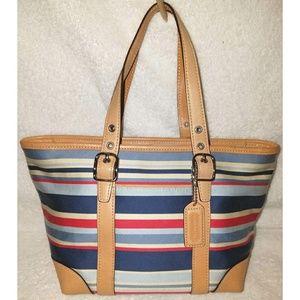 Small striped canvas tote handbag